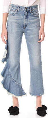 Citizens of Humanity Estella Side Ruffle Jeans $328 thestylecure.com