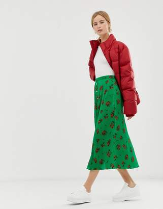 Asos Design DESIGN floral plisse pleated midi skirt with poppers
