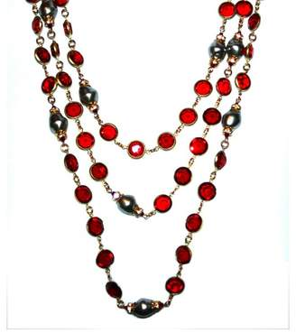 """Chanel Red Bezel Set Crystals Grey Gripoix Baroque Simulated Glass Pearl 72"""" Sautoir Necklace"""
