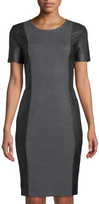 St. John Jewel-Neck Leather-Side Sheath Dress