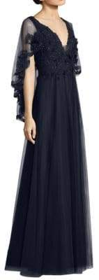 Basix II Black Label Deep V-Neck Cape-Sleeve Gown