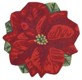 Liora Manné Frontporch Poinsettia Round Indoor and Outdoor Rug