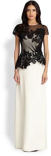 Teri Jon by Rickie Freeman Bi-Color Lace-Top Gown