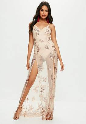 Missguided Nude Strappy Plunge Sequin Maxi Dress