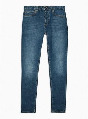 Topman Mens BLUE Mid Wash Stretch Skinny Jeans