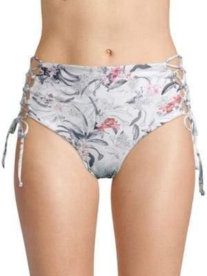 Rachel Roy Floral High-Waist Bikini Bottom