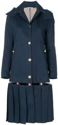Thom Browne Low-Slung Pleated Mackintosh Overcoat