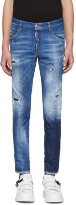 DSQUARED2 Blue Acid Green Spots Skinny Dan Jeans