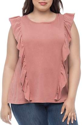 Bobeau B Collection by Curvy Willow Ruffle-Trim Tee