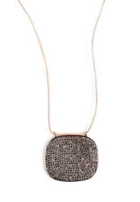 Black Diamond Lera Jewels Square Pendant On Leather Cord Necklace