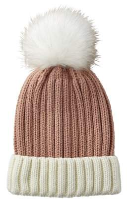 Tickled Pink Maddie Faux Fur Pom-Pom Beanie, One Size Fits Most, Beanie: 100% Acrylic; Pom-Pom: 100% Polyester, Multiple Colors