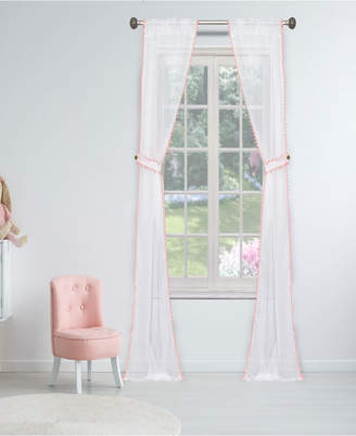 "Duck River Textile Aveline 38"" x 84"" Pompom Trim Curtain Set with Tieback"