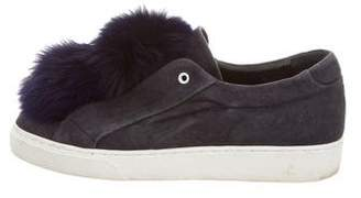 Here/Now Fox Fur-Trimmed Slip-On Sneakers
