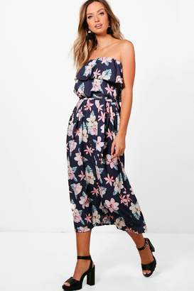 boohoo Dark Floral Woven Maxi Dress