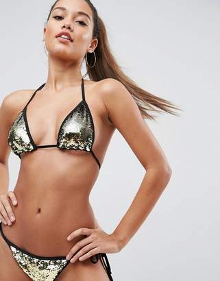 3466a50f01f63 Asos Design DESIGN Mix and Match Two Tone Sequin Embellished Triangle Bikini  Top