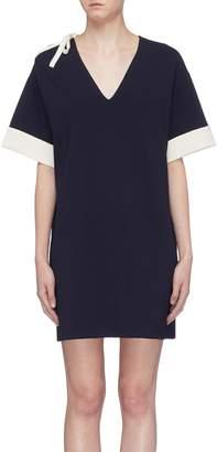 Short Sentence Tie cut-out shoulder knit dress