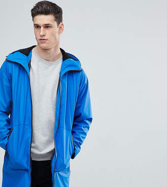 Asos DESIGN Tall shower resistant rain coat with fleece lined hood in blue