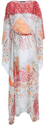 Roberto Cavalli Embroidered Tulle And Printed Silk-Chiffon Kaftan