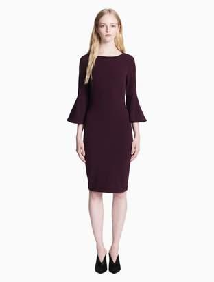 Calvin Klein solid 3/4 bell sleeve sheath dress