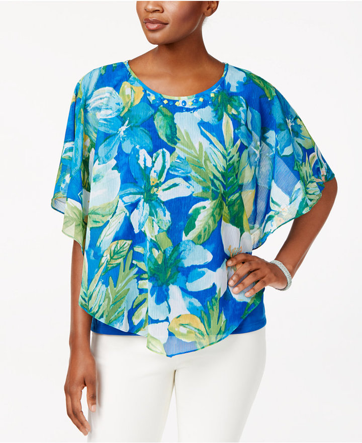 Alfred dunner petite tropical overlay top shopstyle for Alfred dunner wedding dresses