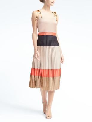 Colorblock Pleated Midi Dress $148 thestylecure.com