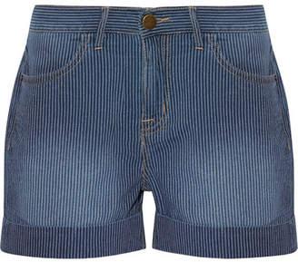 Current/Elliott The Rolled Boyfriend Striped Cotton Shorts - Blue