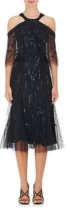 Monique Lhuillier WOMEN'S EMBELLISHED TULLE COLD-SHOULDER DRESS - BLACK SIZE 8