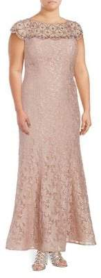 Xscape Evenings Plus Beaded Lace Gown