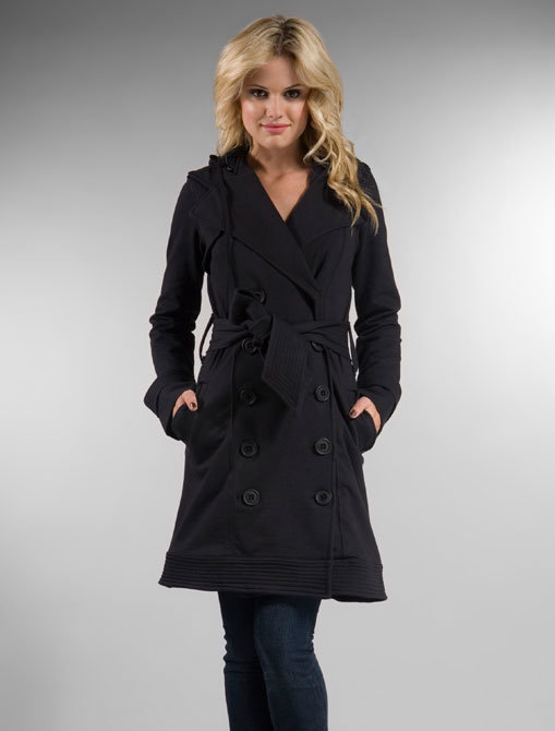 Mike & Chris Melforde Double Breasted Fleece Trench with Zip-Out Hood in Black