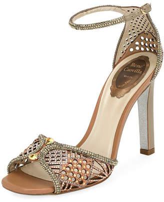 Rene Caovilla Crystal-Embellished Ankle Strap Sandal