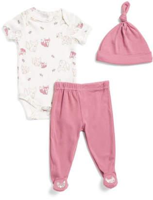Newborn Girls Fox 3pc Bodysuit Pant & Hat Set