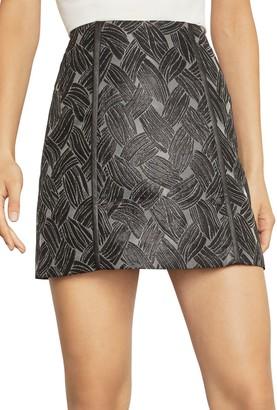 BCBGMAXAZRIA Basket Weave Jacquard Mini Skirt