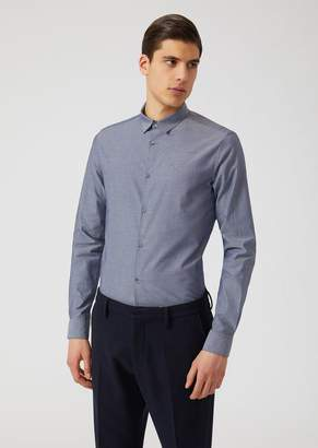 Emporio Armani Modern Fit Cotton Shirt With Micro-Geometric Pattern