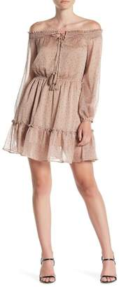 Line & Dot Allegra Mini Dot Off-the-Shoulder Dress