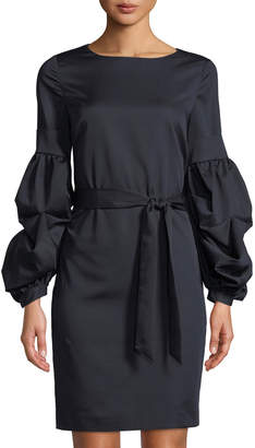 Tahari ASL Gail Tiered Balloon-Sleeve Tie Waist Dress