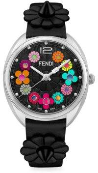 Fendi Momento Flowerland Stainless Steel Leather Strap Watch