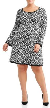 N. Alison Andrews Women's Plus Size Jacquard Print Fit n' Flare Sweater Dress