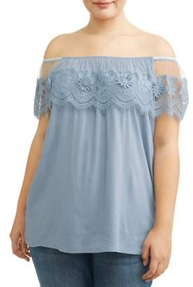 Miss Lili Women's Plus Size Floral Lace Up Detail Sleeveless Blouse