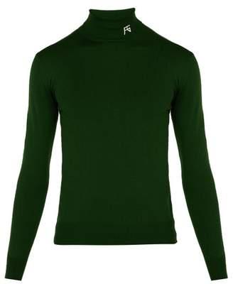 Raf Simons Logo Wool Blend Roll Neck Sweater - Mens - Green