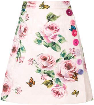 Dolce & Gabbana brocade rose printed skirt
