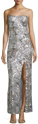 Marina Floral-Sequined Strapless Gown, Silver $189 thestylecure.com