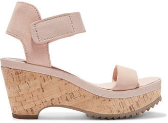 Pedro Garcia Franses Suede Wedge Sandals - Cream