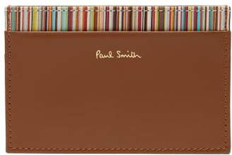 Paul Smith Signature Stripe Leather Card Holder - Mens - Brown