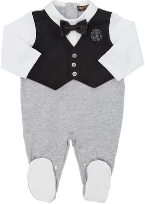 Roberto Cavalli Cotton Jersey Romper W/ Vest & Bow Tie