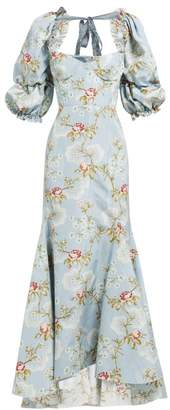 Brock Collection Olaria Floral Print Bustier Cotton Blend Gown - Womens - Blue