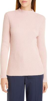 Mansur Gavriel Ribbed Funnel Neck Alpaca & Silk Sweater