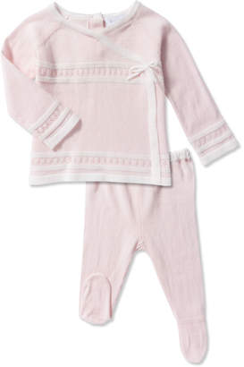 Angel Dear Take Me Home Knit Pointelle Top w/ Footed Leggings, Size Newborn-3 Months