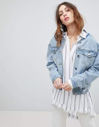 Current Air Denim Jacket with Lace Back Detail
