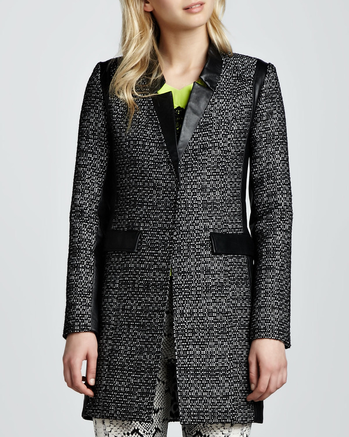Nanette Lepore Leather-Trim Tweed Coat