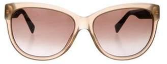Max Mara Leather Trimmed Gradient Sunglasses Brown Leather Trimmed Gradient Sunglasses